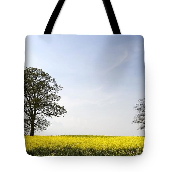 Trees In A Rapeseed Field, Yorkshire Tote Bag by John Short