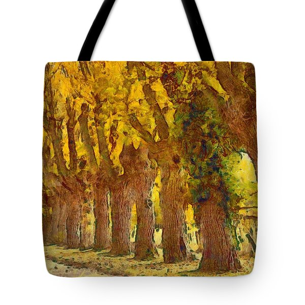 Trees In Fall - Brown And Golden Tote Bag by Matthias Hauser