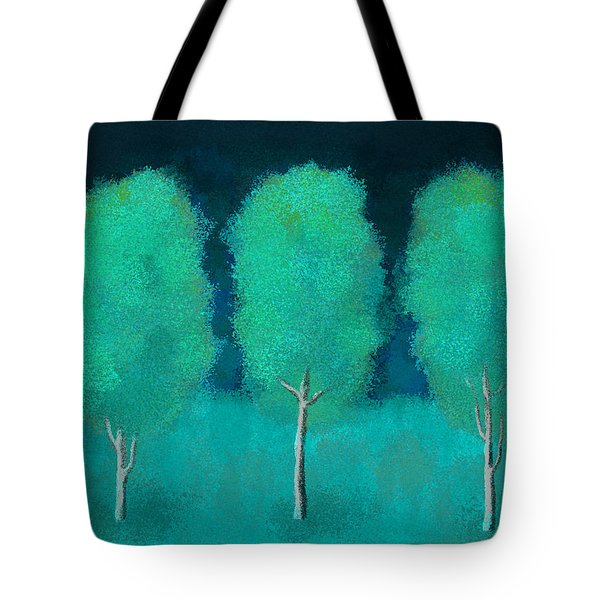 Trees In Triplicate Moonlit Winter Tote Bag
