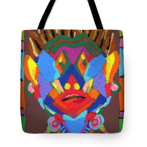 Tribal Mask Tote Bag by Stephen Anderson