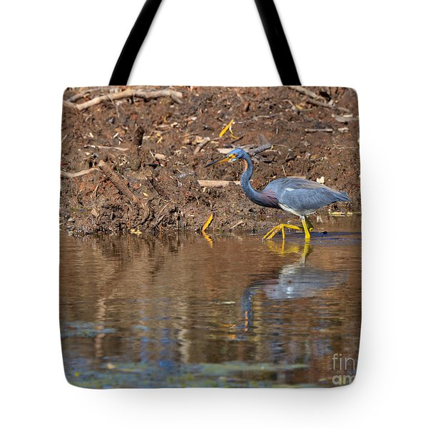 Tricolored Heron In The Winter Marsh Tote Bag by Louise Heusinkveld