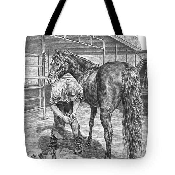 Trim And Fit - Farrier With Horse Art Print Tote Bag