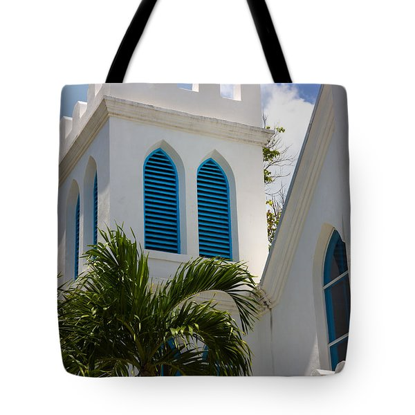 Tote Bag featuring the photograph Trinity Presbyterian Church Tower by Ed Gleichman