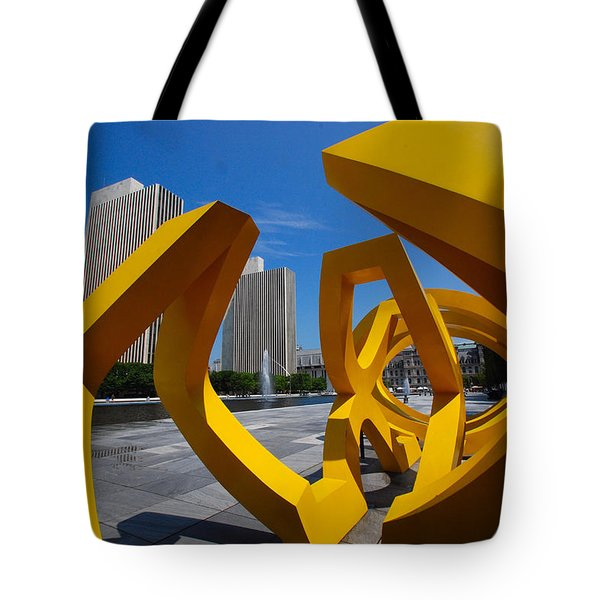Tote Bag featuring the photograph Trio On The Plaza by John Schneider