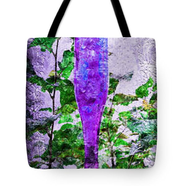 Triptych Cobalt Blue Purple And Magenta Bottles Triptych Vertical Tote Bag by Andee Design