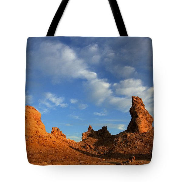 Trona Pinnacles Golden Hour Tote Bag by Bob Christopher