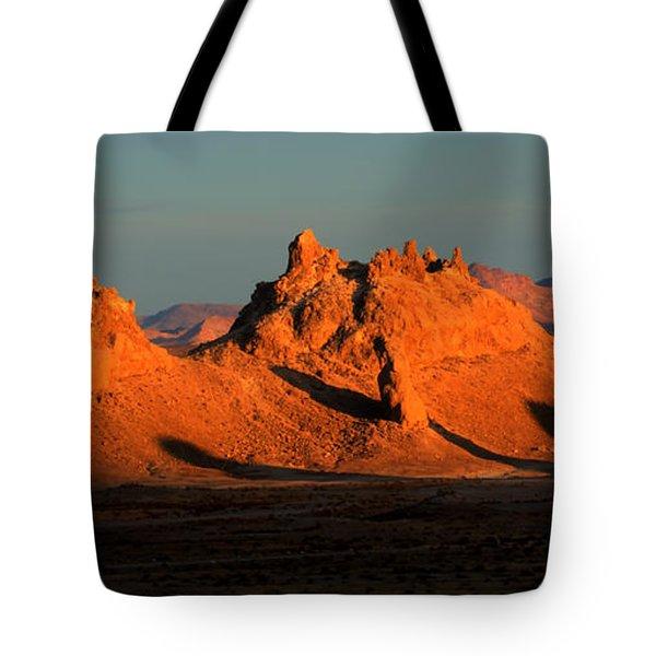 Trona Pinnacles Panorama Tote Bag by Bob Christopher