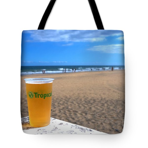 Tropical Beer On The Beach Tote Bag by Rob Hawkins