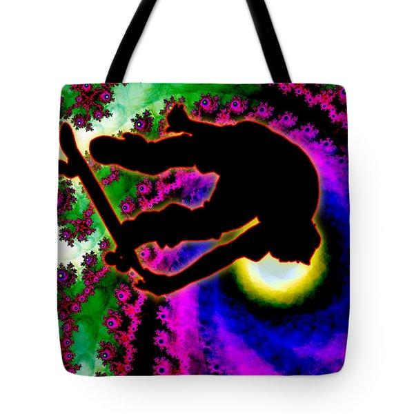 Tropical Hurricane Eye With Skateboarder Tote Bag by Elaine Plesser