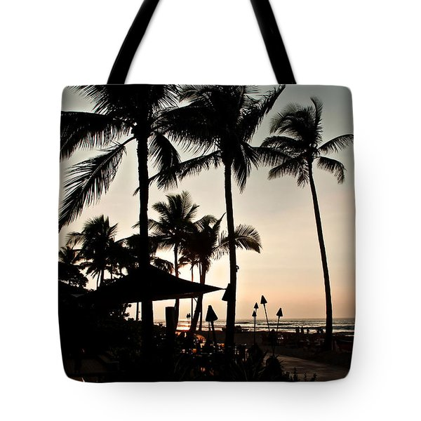 Tote Bag featuring the photograph Tropical Island Silhouette Beach Sunset by Valerie Garner