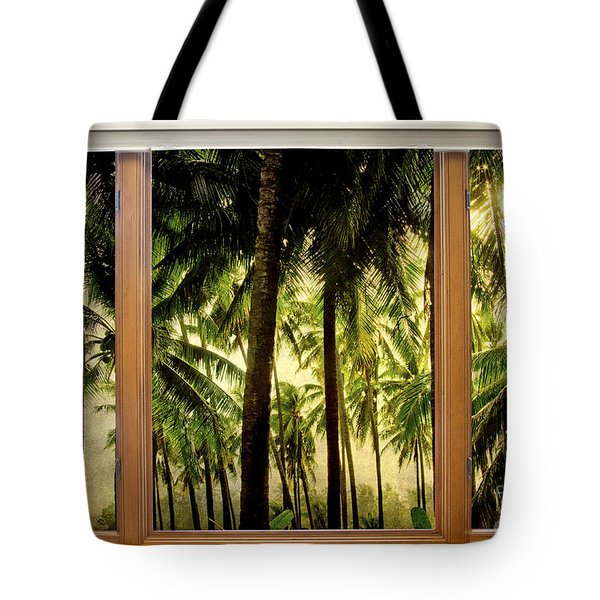Tropical Jungle Paradise Window Scenic View Tote Bag by James BO  Insogna