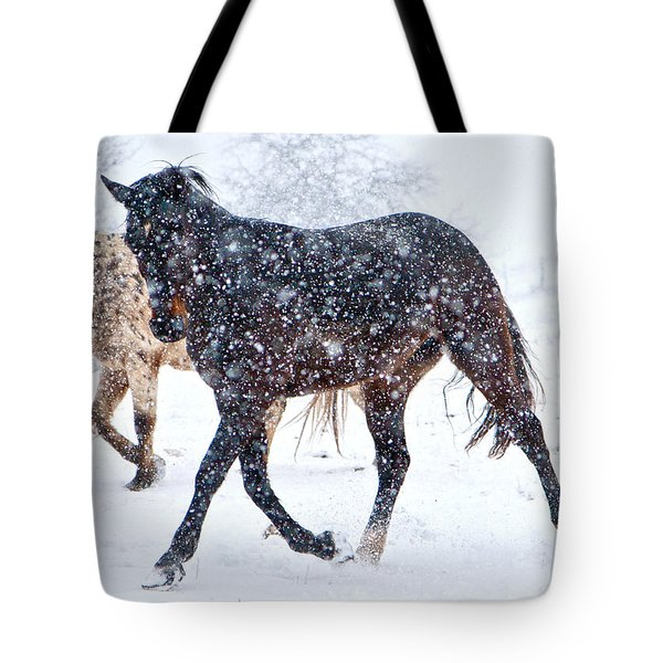 Trotting In The Snow Tote Bag by Betsy Knapp
