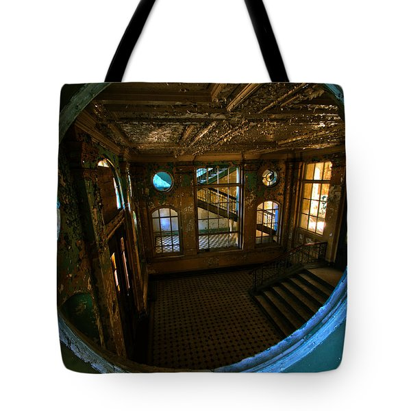 Trough The Round Window Tote Bag by Nathan Wright