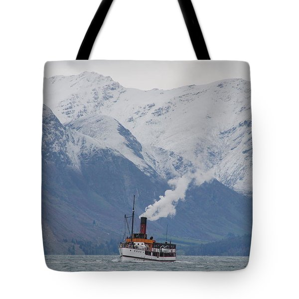 Tss Earnslaw Steamboat Against The Southern Alps Tote Bag