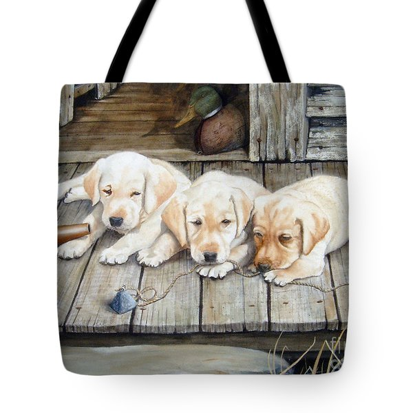 Tuckered Out Trio  Sold  Prints Available Tote Bag