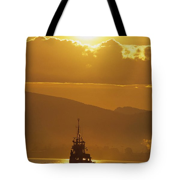 Tugboat At Sunrise, Burrard Inlet Tote Bag by Ron Watts