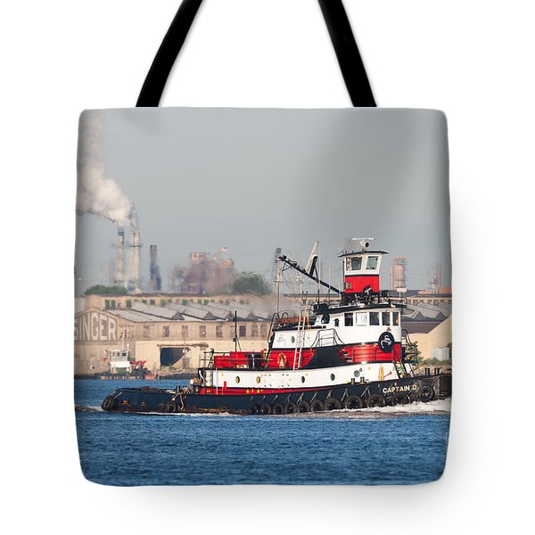 Tugboat Captain D In Newark Bay I Tote Bag by Clarence Holmes