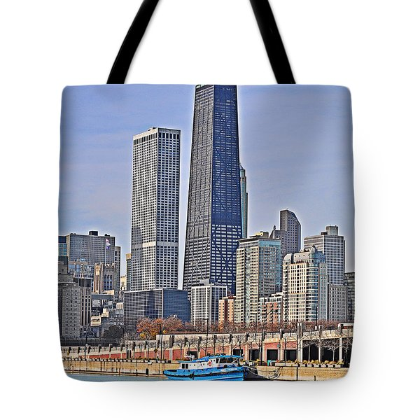 Tugboat On The Chicago River Tote Bag by Mary Machare