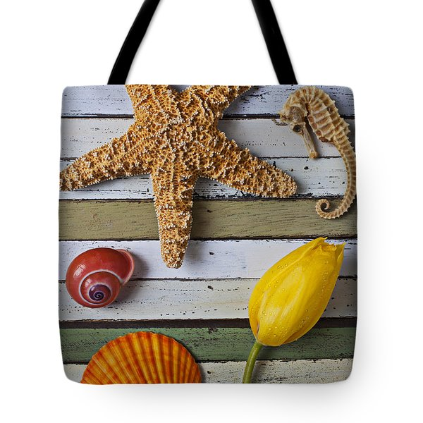 Tulip And Starfish Tote Bag by Garry Gay
