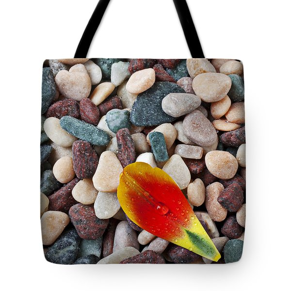 Tulip Petal And Wet Stones Tote Bag by Garry Gay