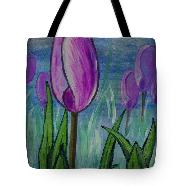 Tulips In The Mist Tote Bag