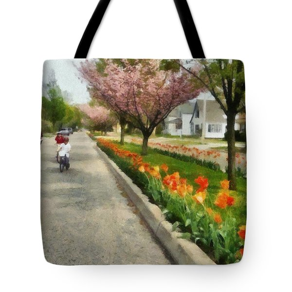 Tulips On The Boulevard Holland Michigan Tote Bag