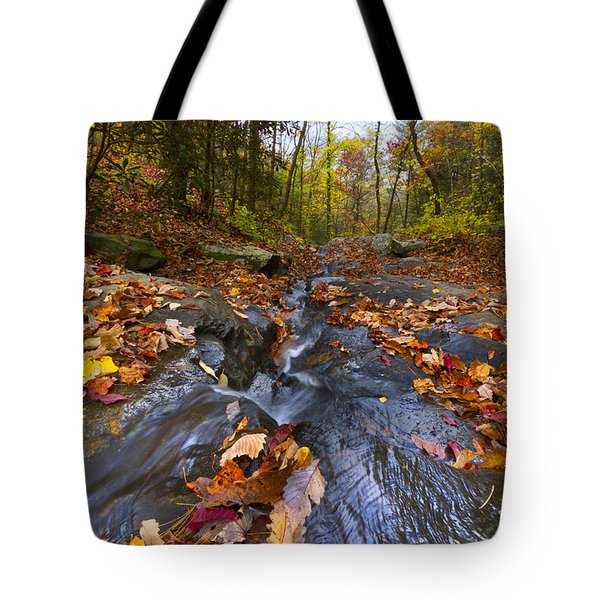 Tumbling Leaves Tote Bag by Debra and Dave Vanderlaan