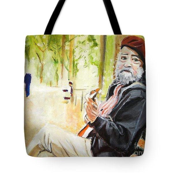 Tote Bag featuring the painting Tuning In by Judy Kay