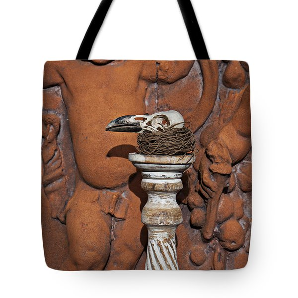 Turkey Vulture Skull Tote Bag by Garry Gay