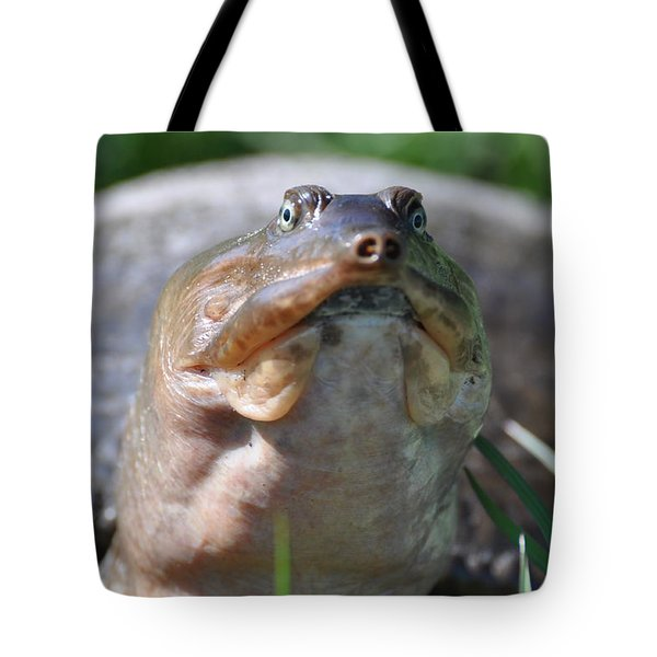 Tote Bag featuring the painting Turtle With An Attitude by AnnaJo Vahle