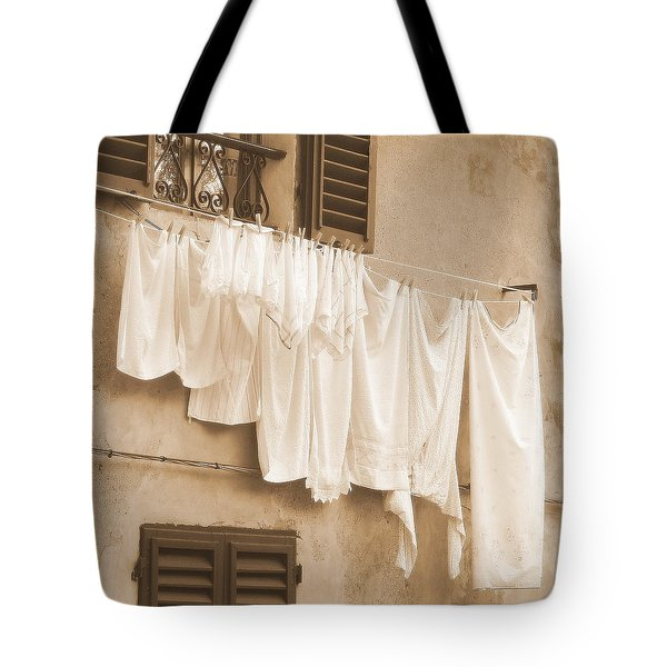 Tote Bag featuring the photograph Tuscan Laundry by Ramona Johnston