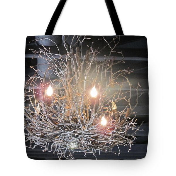 Tote Bag featuring the photograph Twiggy Chandelier by Tina M Wenger