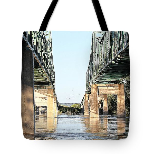 Tote Bag featuring the photograph Twin Bridges by Elizabeth Winter