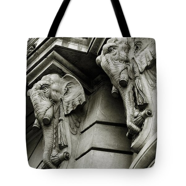 Twin Elephants Tote Bag by Syed Aqueel
