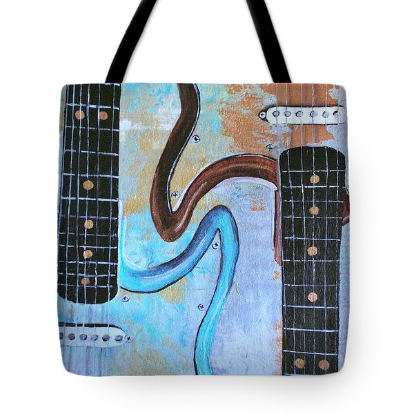Tote Bag featuring the painting Twin Guitars by Mary Kay Holladay