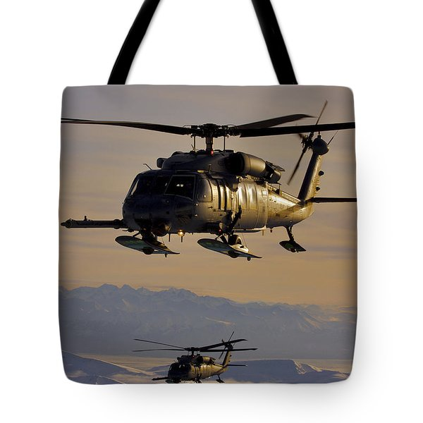 Two Alaska Air National Guard Hh-60g Tote Bag by Stocktrek Images