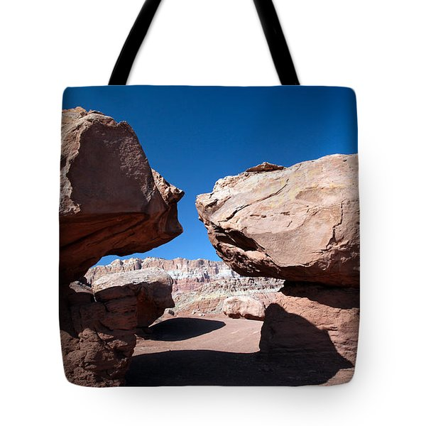 Two Balancing Boulders In The Desert Tote Bag by Karen Lee Ensley