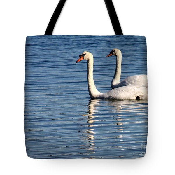 Two Beautiful Swans Tote Bag by Sabrina L Ryan