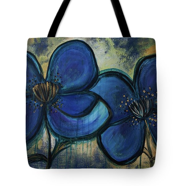 Two Blue Poppies Tote Bag