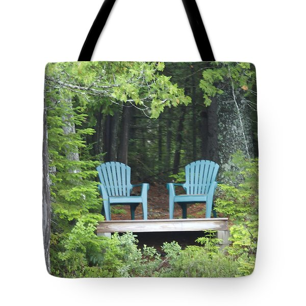 Two Chairs Sit At A Lakeside Camp Tote Bag