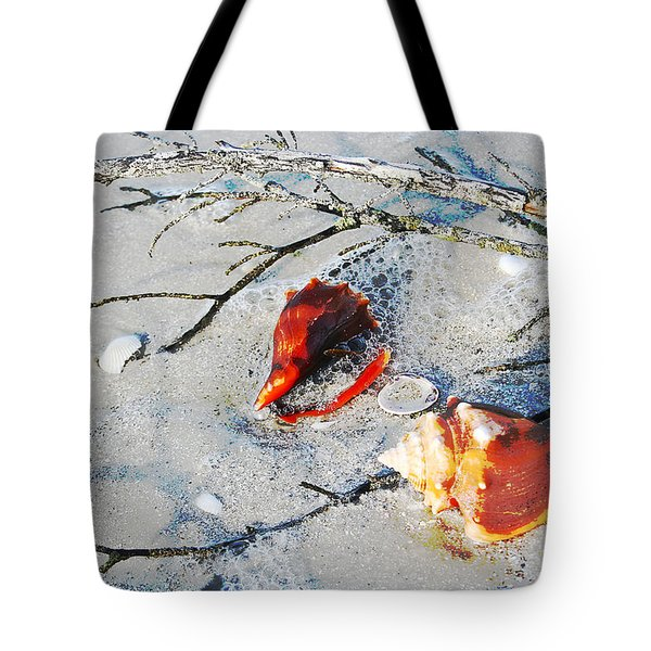 Two Conch Shells With Branch Tote Bag by Olivia Novak