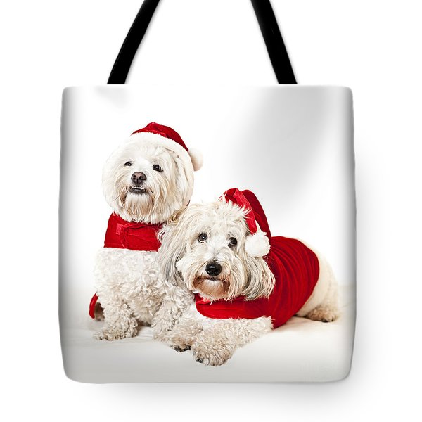 Two Cute Dogs In Santa Outfits Tote Bag by Elena Elisseeva