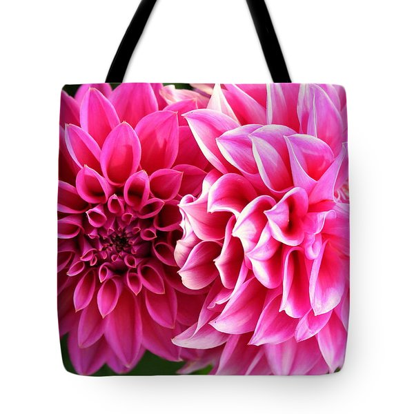 Tote Bag featuring the photograph Two Dahlias In Shades Of Pink by Laurel Talabere