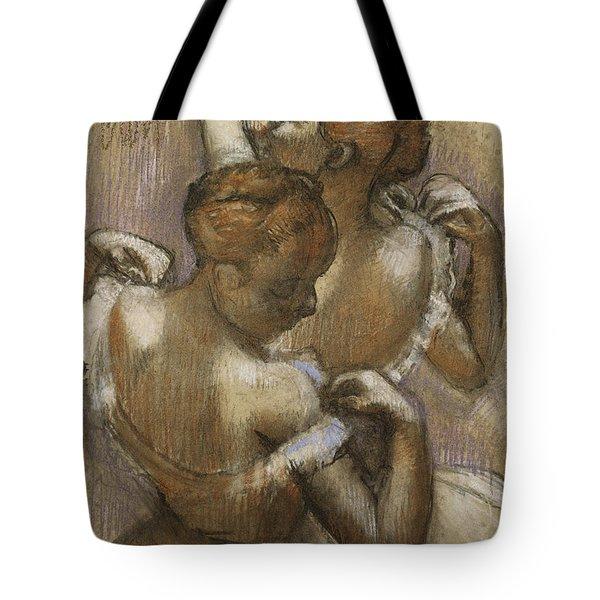Two Dancers Adjusting Their Shoulder Straps Tote Bag by Edgar Degas