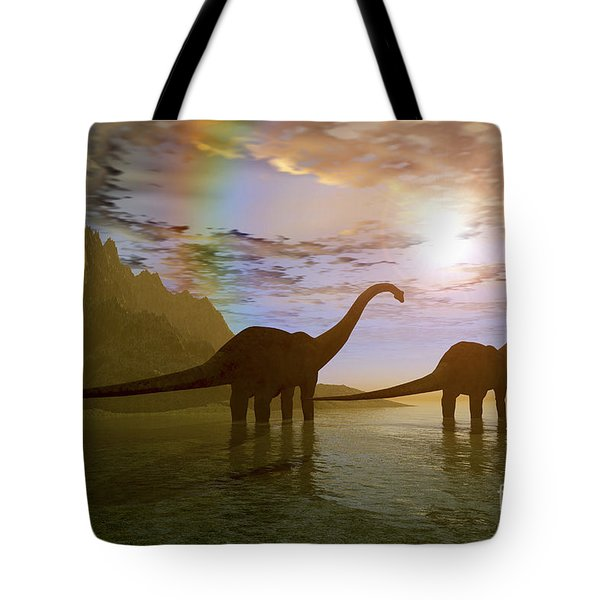 Two Diplodocus Dinosaurs Wade Tote Bag by Corey Ford