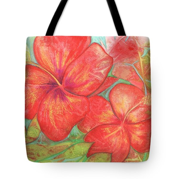 Two Hibiscus Blossoms Tote Bag by Carla Parris