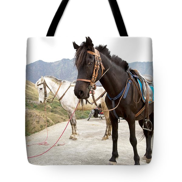Tote Bag featuring the photograph Two Horses by Yew Kwang