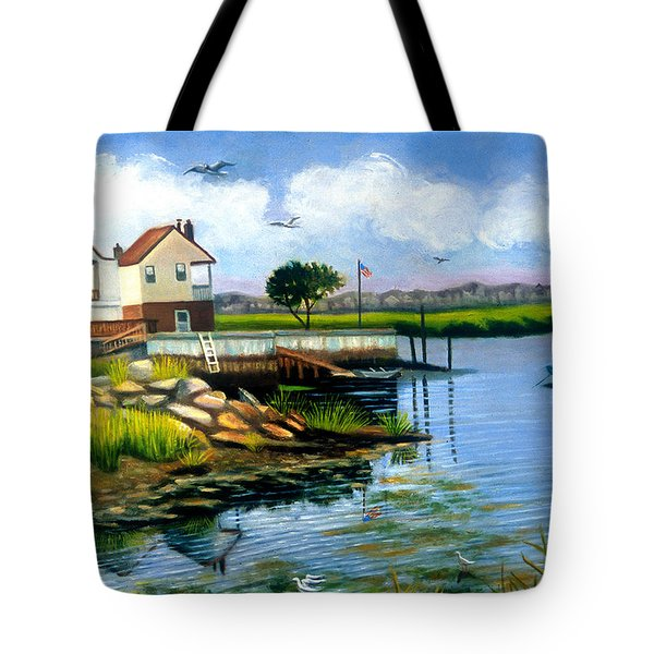 Two Houses In Broad Channel Tote Bag