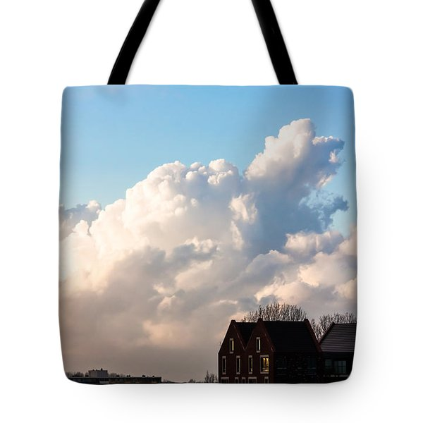 Two Houses One Cloud Tote Bag by Semmick Photo