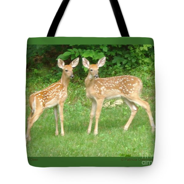 Two Little Deer Tote Bag by Patricia Overmoyer